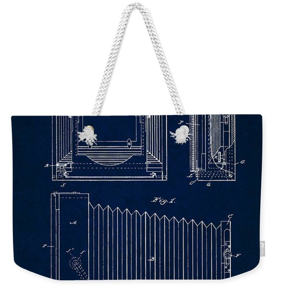 1891 Camera Us Patent Invention Drawing - Dark Blue Weekender Tote Bag
