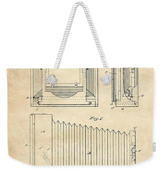 1891 Camera Us Patent Invention Drawing - Vintage Tan Weekender Tote Bag