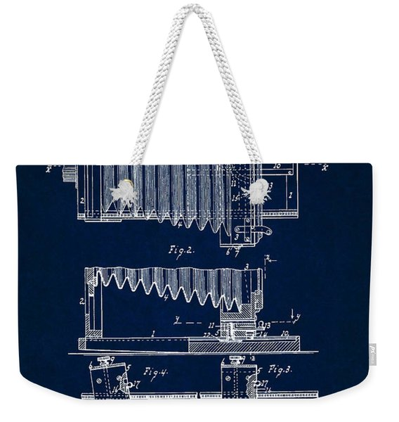 1897 Camera Us Patent Invention Drawing - Dark Blue Weekender Tote Bag