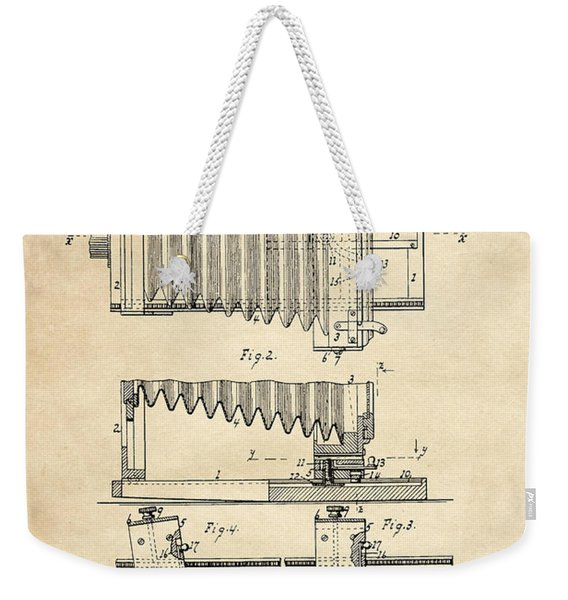 1897 Camera Us Patent Invention Drawing - Vintage Tan Weekender Tote Bag