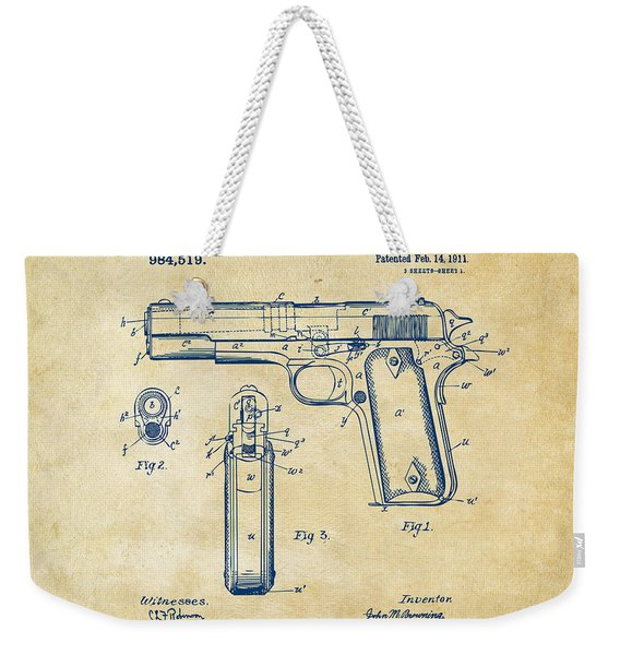 1911 Colt 45 Browning Firearm Patent Artwork Vintage Weekender Tote Bag