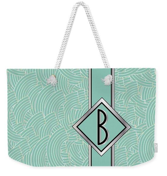 1920s Blue Deco Jazz Swing Monogram ...letter B Weekender Tote Bag