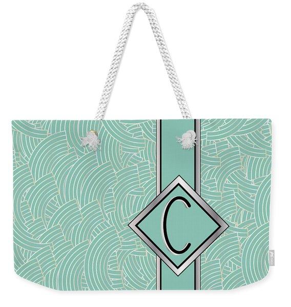 1920s Blue Deco Jazz Swing Monogram ...letter C Weekender Tote Bag