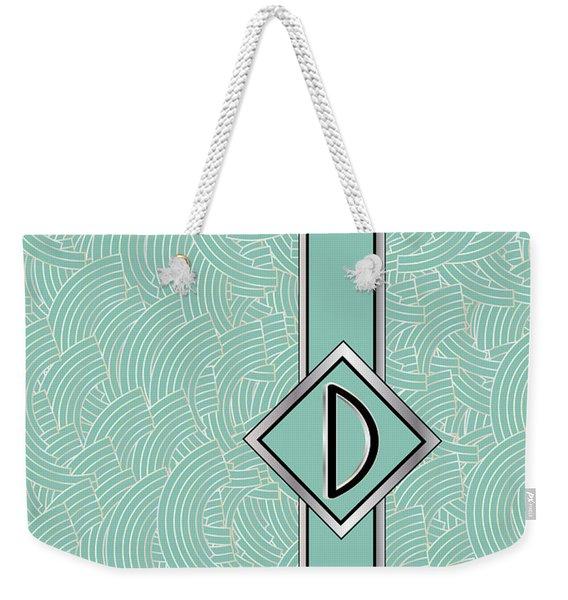 1920s Blue Deco Jazz Swing Monogram ...letter D Weekender Tote Bag