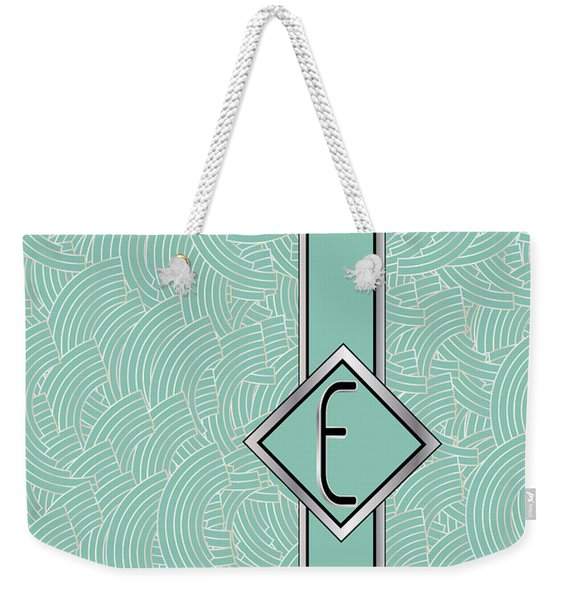 1920s Blue Deco Jazz Swing Monogram ...letter E Weekender Tote Bag