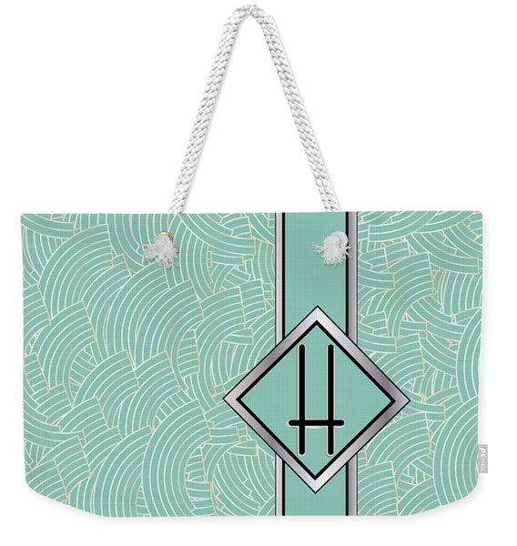 1920s Blue Deco Jazz Swing Monogram ...letter H Weekender Tote Bag