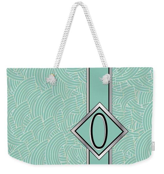 1920s Blue Deco Jazz Swing Monogram ...letter O Weekender Tote Bag