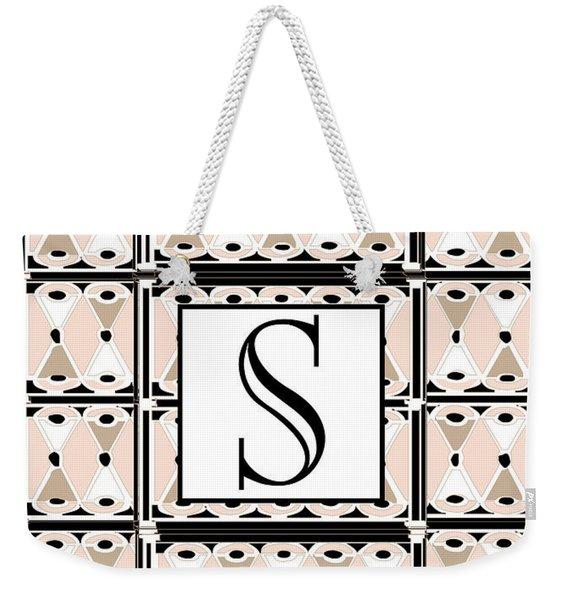 1920s Pink Champagne Deco Monogram  S Weekender Tote Bag