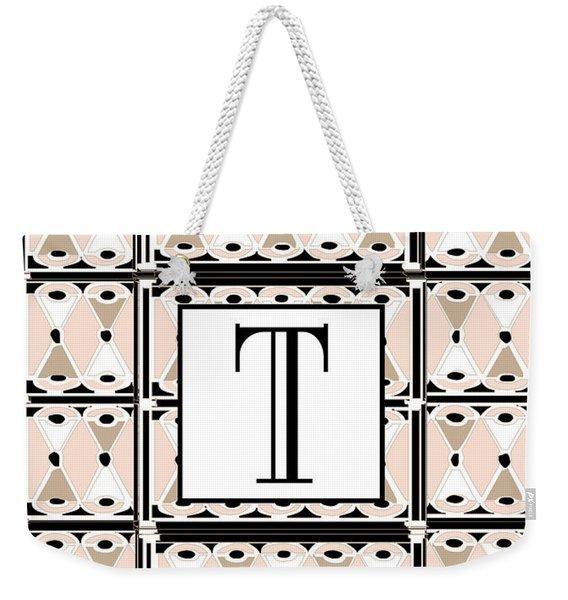 1920s Pink Champagne Deco Monogram  T Weekender Tote Bag