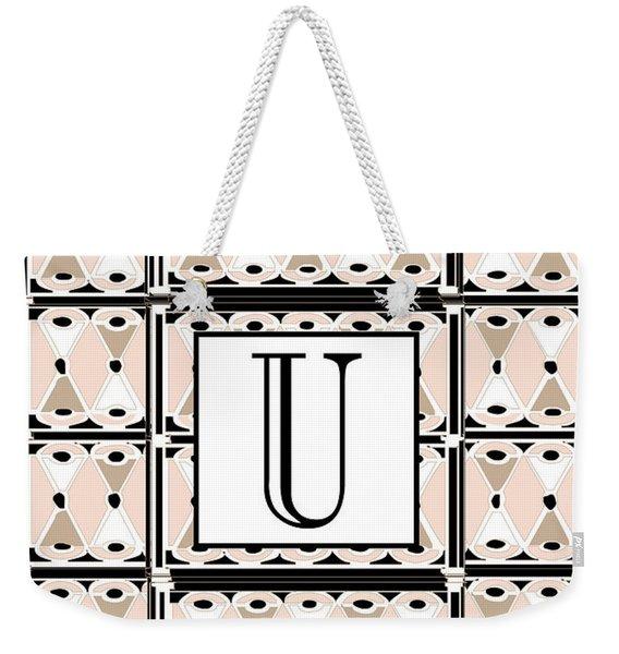 1920s Pink Champagne Deco Monogram  U Weekender Tote Bag