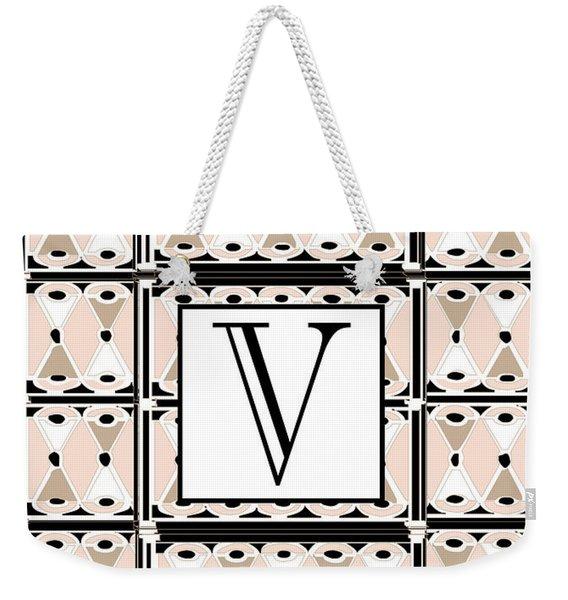 1920s Pink Champagne Deco Monogram  V Weekender Tote Bag
