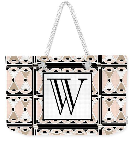 1920s Pink Champagne Deco Monogram  W Weekender Tote Bag