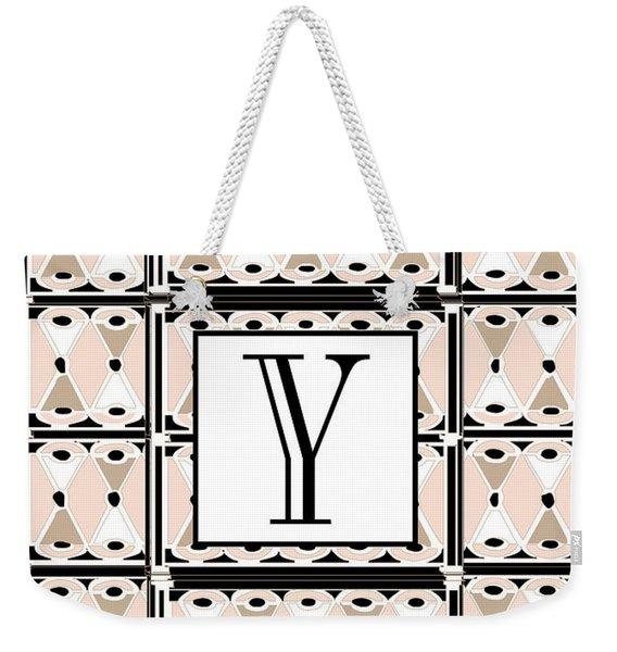 1920s Pink Champagne Deco  Monogram  Y Weekender Tote Bag