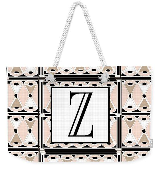 1920s Pink Champagne Deco Monogram  Z Weekender Tote Bag