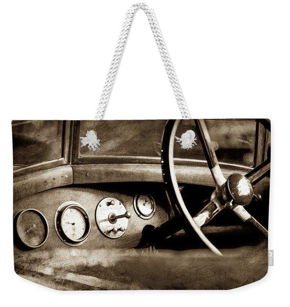 1921 Bentley Steering Wheel -0454s Weekender Tote Bag