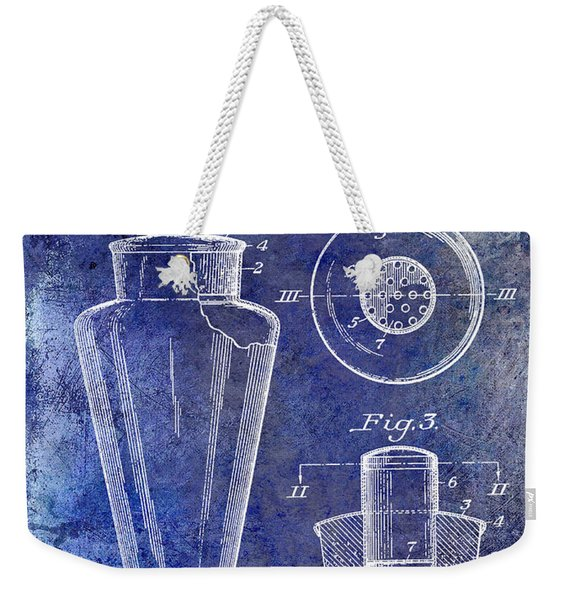 1925 Cocktail Shaker Patent Blue Weekender Tote Bag