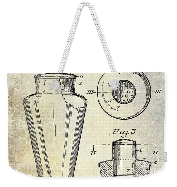 1925 Cocktail Shaker Patent  Weekender Tote Bag