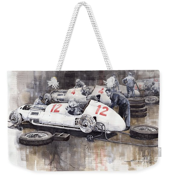 1938 Italian Gp Mercedes Benz Team Preparation In The Paddock Weekender Tote Bag
