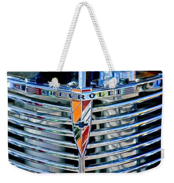 1939 Chevrolet Coupe Grille Emblem Weekender Tote Bag