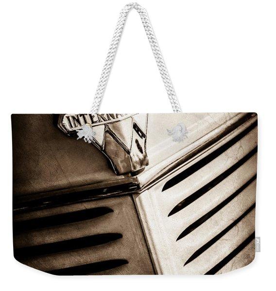 1940 International D-2 Station Wagon Grille Emblem -0219s Weekender Tote Bag