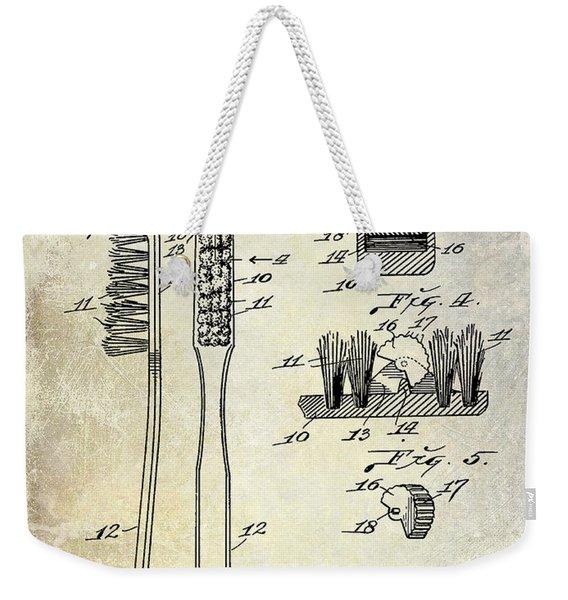 1941 Toothbrush Patent  Weekender Tote Bag