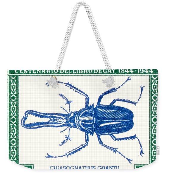 1948 Chile Stag Beetle Postage Stamp Weekender Tote Bag