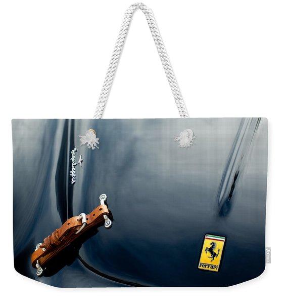 Weekender Tote Bag featuring the photograph 1950 Ferrari Hood Emblem by Jill Reger