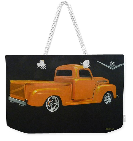 Weekender Tote Bag featuring the painting 1952 Ford Pickup Custom by Richard Le Page