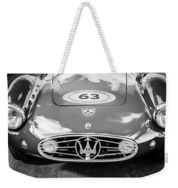 Weekender Tote Bag featuring the photograph 1954 Maserati A6 Gcs -0255bw by Jill Reger