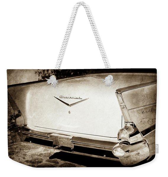 1957 Chevrolet Belair Tail Emblem -068s Weekender Tote Bag