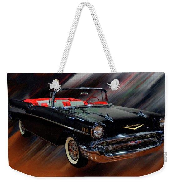 1957 Chevy Bel Air Convertible Digital Oil Weekender Tote Bag