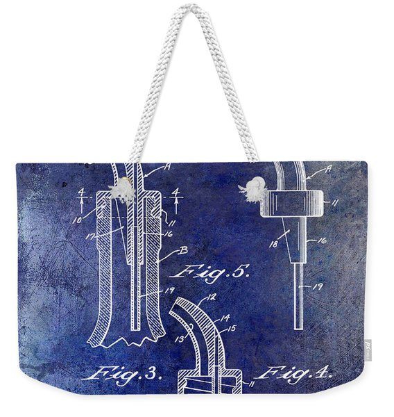 1958 Liquor Bottle Pour Patent Blue Weekender Tote Bag