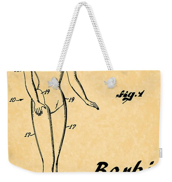 1961 Barbie Doll Patent Art 5 Weekender Tote Bag