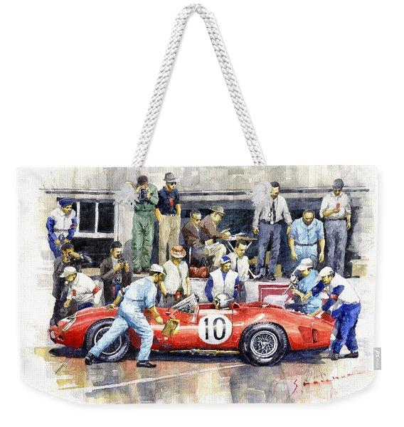 1961 Le Mans 1961 Ferrari 250 Tri Olivier Gendebien Phil Hill Winner  Weekender Tote Bag
