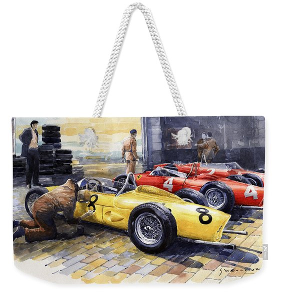 1961 Spa-francorchamps Ferrari Garage Ferrari 156 Sharknose  Weekender Tote Bag