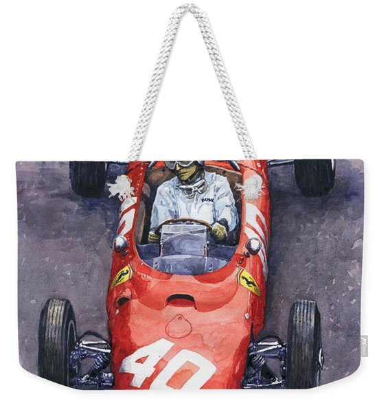 1962 Monaco Gp Willy Mairesse Ferrari 156 Sharknose Weekender Tote Bag