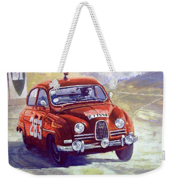 1963 Saab 96 #283  Rallye Monte Carlo  Carlsson Palm Winner Weekender Tote Bag