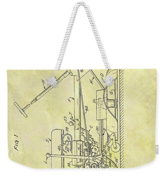 1966 Riding Mower Patent Weekender Tote Bag