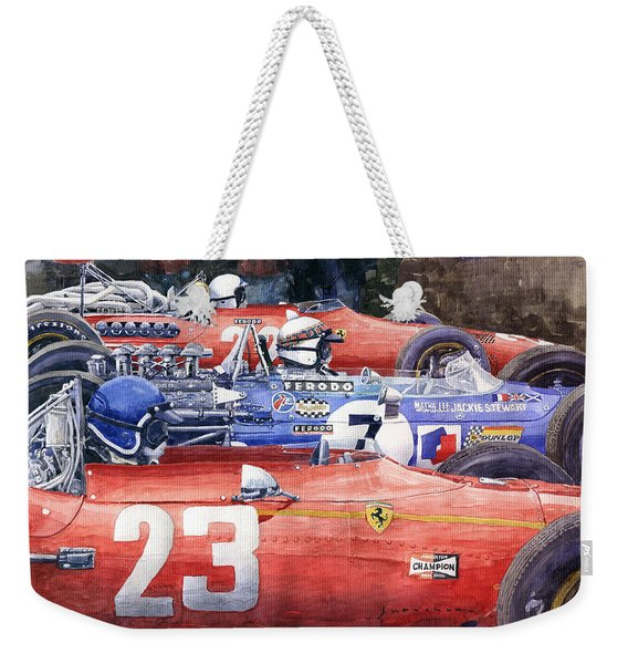 1968 Belgie Gp Spa Ickx Amon Ferrari 312 Stewart Matra Cosworth M15 Weekender Tote Bag