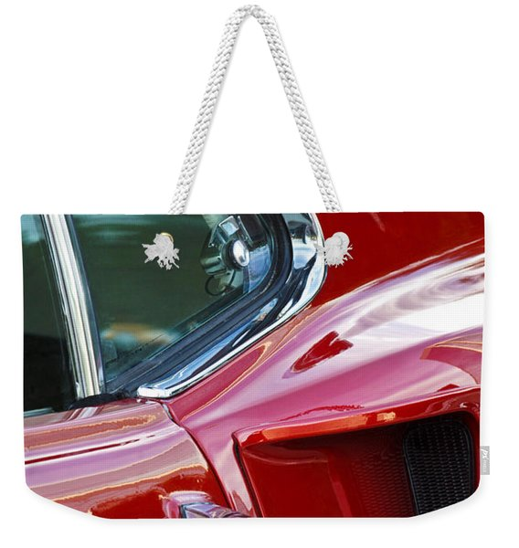 Weekender Tote Bag featuring the photograph 1969 Ford Mustang Mach 1 Side Scoop by Jill Reger