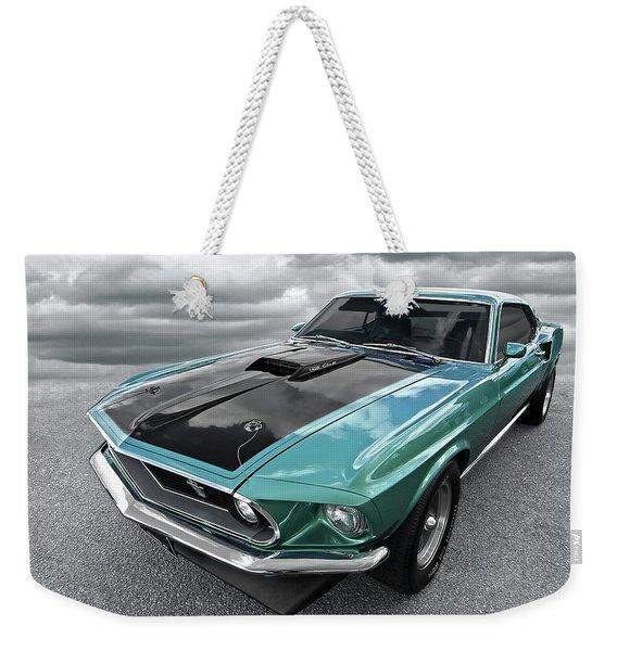 1969 Green 428 Mach 1 Cobra Jet Ford Mustang Weekender Tote Bag