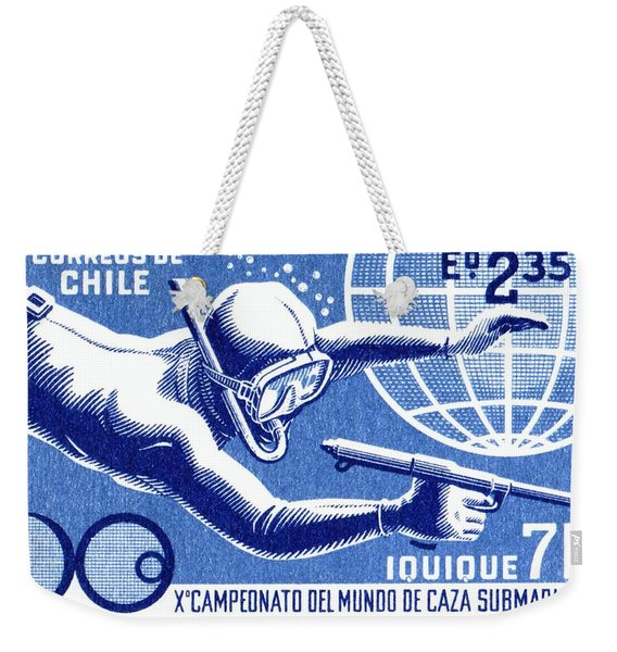 1971 Chile Spearfishing Championship Postage Stamp Weekender Tote Bag