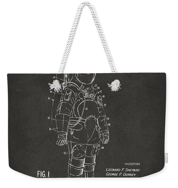 1973 Space Suit Patent Inventors Artwork - Gray Weekender Tote Bag