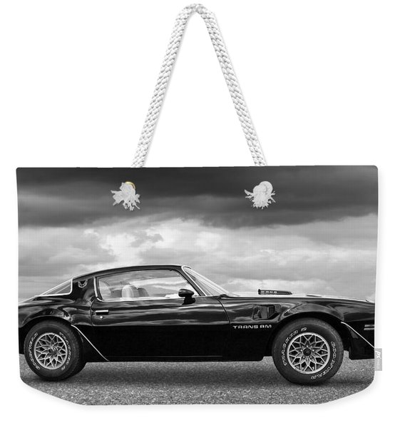 1978 Trans Am In Black And White Weekender Tote Bag