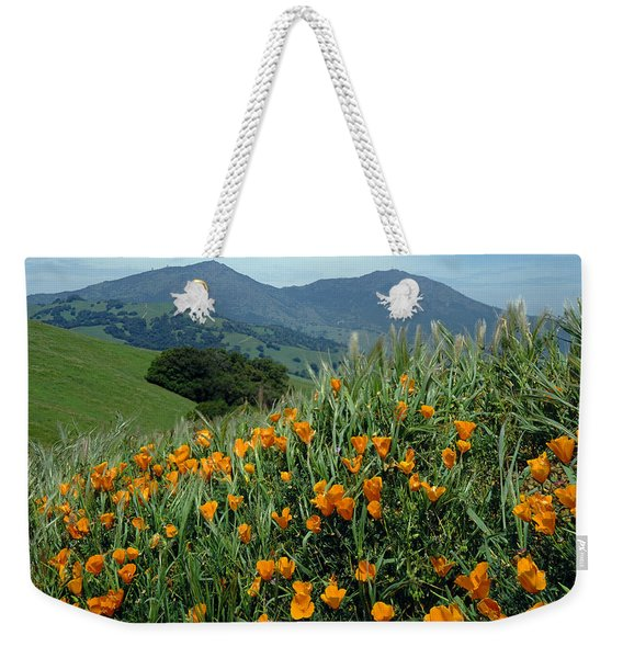 1a6493 Mt. Diablo And Poppies Weekender Tote Bag