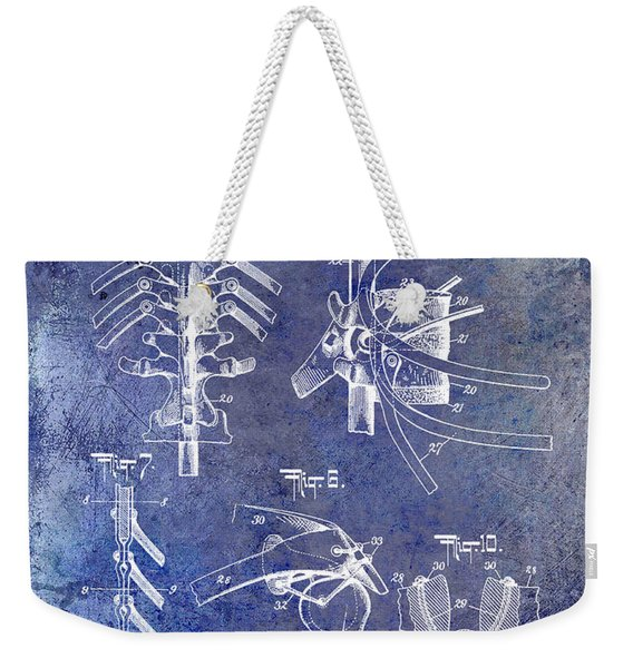 1911 Anatomical Skeleton Patent Blue Weekender Tote Bag