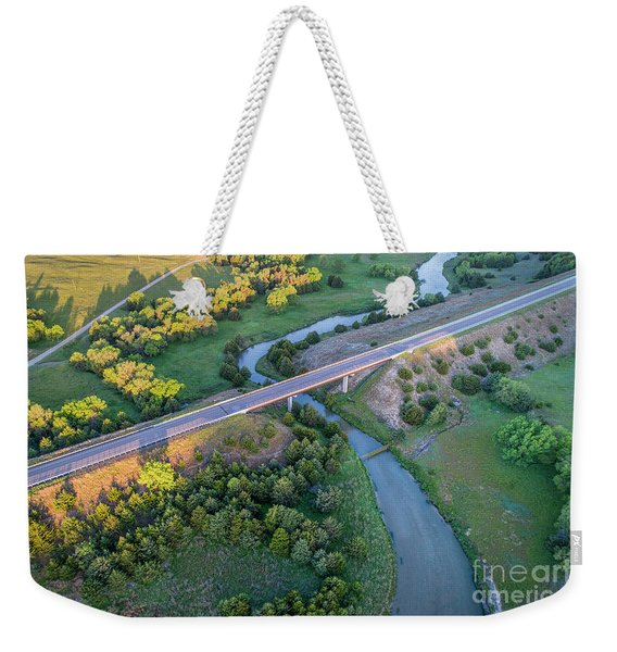 aerial view of Dismal River in Nebraska Weekender Tote Bag