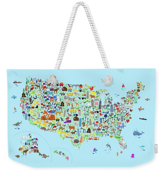 Animal Map Of United States For Children And Kids Weekender Tote Bag