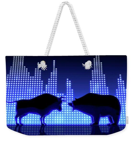 Bear And Bull Silhouette Graphs Weekender Tote Bag