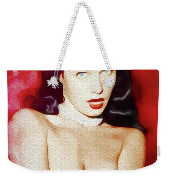 Bettie Page, Vintage Pinup Star Weekender Tote Bag